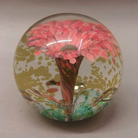Click to view detail for DB-287 - Paperweight - Pink Spring Flower