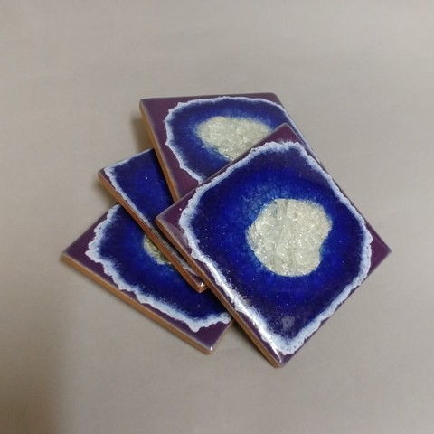 Click to view detail for KB374 Coaster Set of Four - Blue/Purple