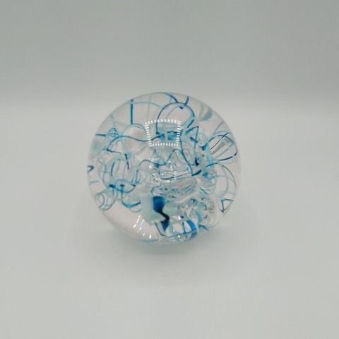 Click to view detail for DB-377 Paperweight -Abstract Teal/White 3x3