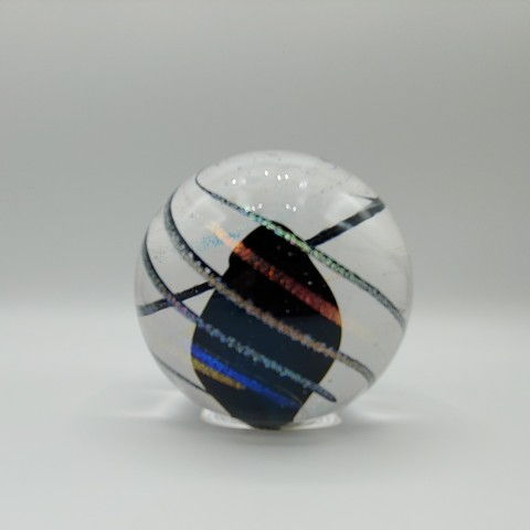 Click to view detail for DB-381 Paperweight - Dichroic Cane Swirl 3x3