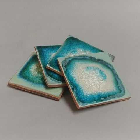 Click to view detail for KB389 Coaster Set of Four - Turquoise &Teal