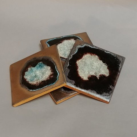 Click to view detail for KB390 Coaster Set of Four - Gold/Black/Teal