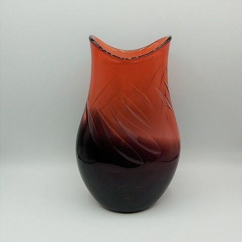 Click to view detail for DB-390 Vase Aurora Rose Bubble 9.5x6