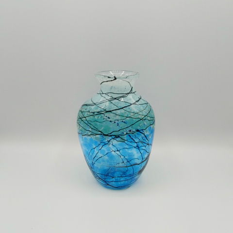 Click to view detail for DB-397 Vase Small Aqua Lightning Bottle Shape 7x4