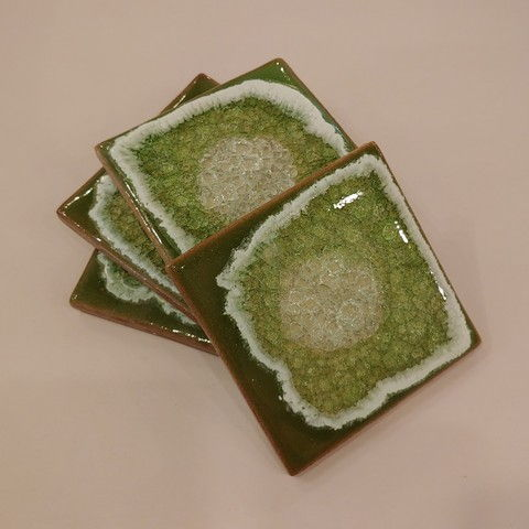 Click to view detail for KB415 Coaster Set - Medium Dark Moss