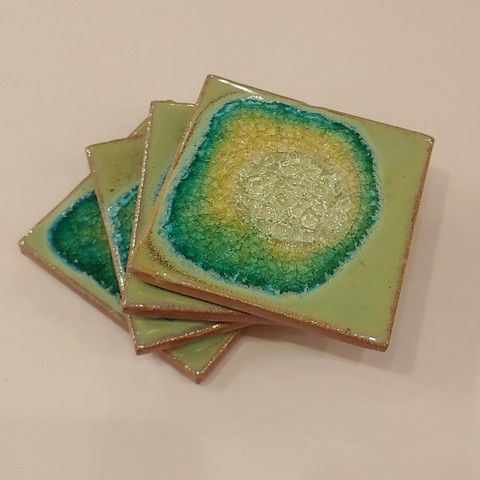Click to view detail for KB420 Coaster Set - Pale Mint