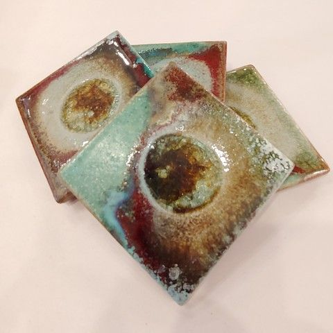 KB-449 Coaster Set - Green/Copper at Hunter Wolff Gallery