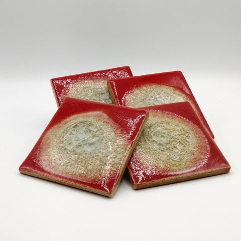 Click to view detail for KB-470 Coaster Set of Four - Red $39.50