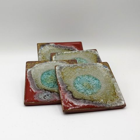 Click to view detail for KB-471 Coaster Set of Four - Red & Copper