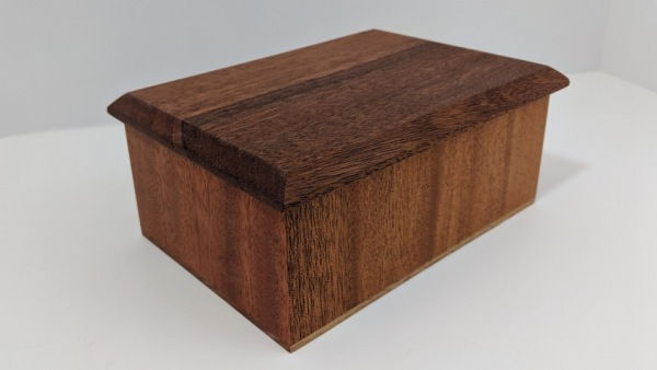 BEN-5005 Lidded Wooden Mahogany Box 5.5x7.5x3.25 at Hunter Wolff Gallery