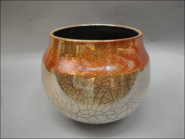 MP-053 Raku, Crackled Glaze at Hunter Wolff Gallery