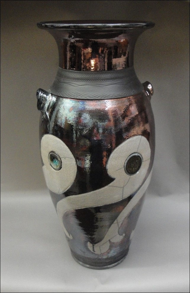 Click to view detail for MP-065 Raku Copper & White Crackle Floor Vase