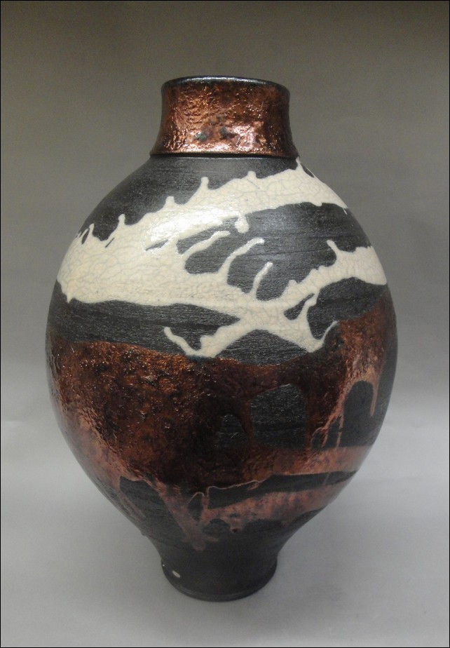Click to view detail for TH-7270 Decorative Raku Vessel