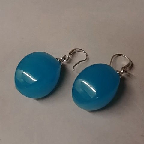 Click to view detail for Earrings - 774S Drops - Blue Resin