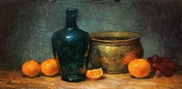 Antique Bottle With Oranges 7x14 at Hunter Wolff Gallery