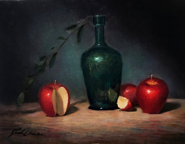 Click to view detail for Apples & Antique Bottle 9x12