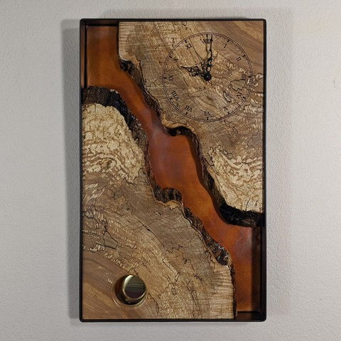 Click to view detail for BEN-9044 Clock - Vertical Live Edge Shadow Box