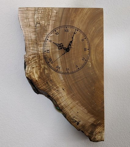 Click to view detail for BEN-9045 Clock - Peek A Boo Live Edge Clock