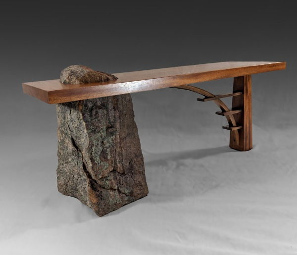 Click to view detail for BEN-7019 Bench Stone & Wood