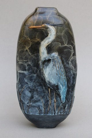 Click to view detail for FL081 Great Blue Heron Vase, 2-Sided