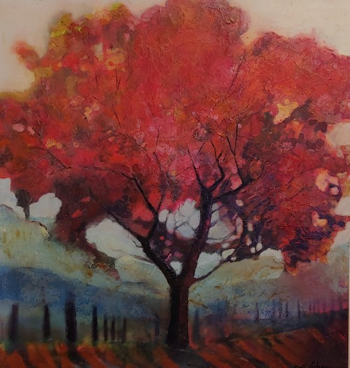 Click to view detail for Blushing Red Tree 34x32  $1900