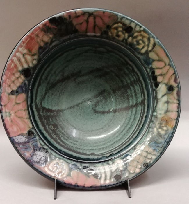 Click to view detail for Bowl Medium 13 - Green and Rose