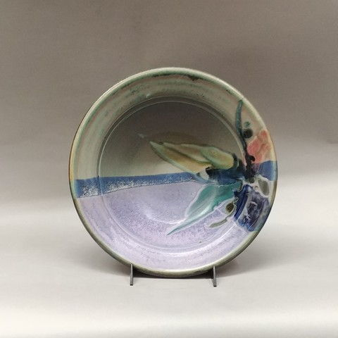 Click to view detail for Bowl Medium 13 Blue & Green Floral Splash