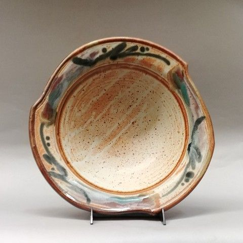 Click to view detail for Bowl Medium 13  Tan & Mixed on Scalloped Edge