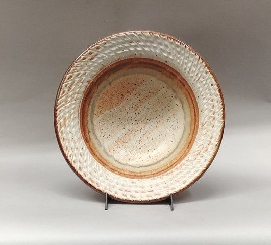 Click to view detail for Bowl Medium 13 Tan on Tan Textured Edge