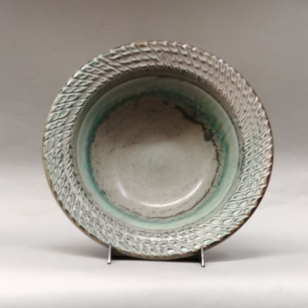 Bowl Medium 13 Soft Green with Textured Edge at Hunter Wolff Gallery