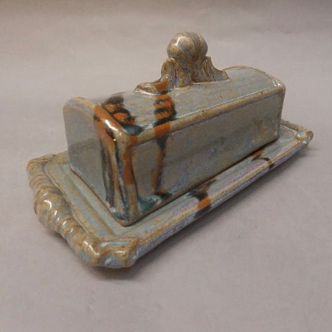 Click to view detail for Butter Dish, Lidded Bluish with Brown Accent