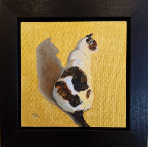 Click to view detail for Cat on Gold 6x6 $275
