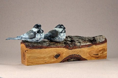 Click to view detail for FL066 Chickadee Pair on Gambel Oak