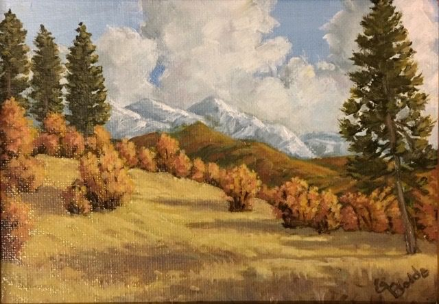 Click to view detail for Coyote Park, First Snow on the Peaks 7 x 5