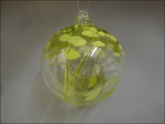 DB-201 Ornament Witches Ball, Lime Green at Hunter Wolff Gallery