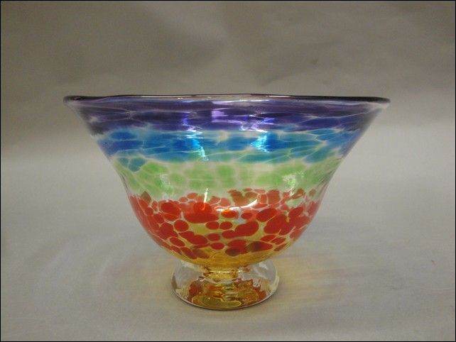 DB-203 Small Bowl, Rainbow, Straight Rim at Hunter Wolff Gallery