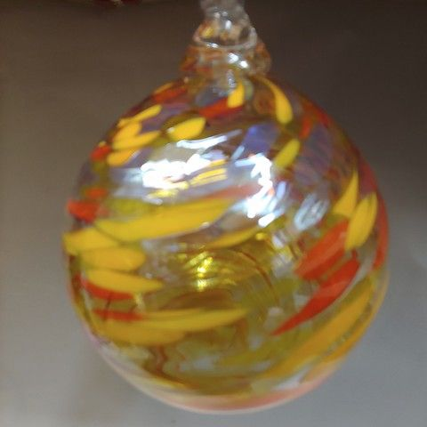 DB-301  Ornament - Yellow/Orange Twist at Hunter Wolff Gallery