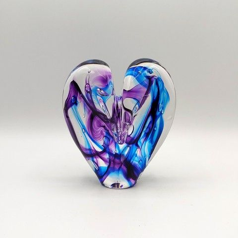 Click to view detail for DG-11 Heart - Aqua & Purple 5x4x2.5