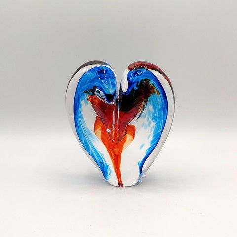 Click to view detail for DG-12 Heart - Aqua & Cherry 5x4x2.5