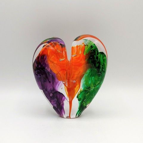 Click to view detail for DG-16 Heart - Purple, Green & Orange 5x4x2.5