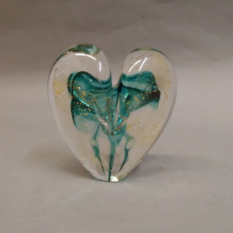 Click to view detail for DG-4 Heart 23K Gold & Teal