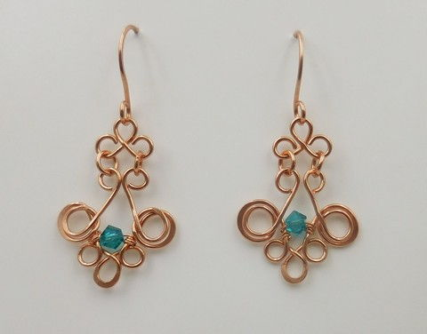 Click to view detail for DKC-1015 Earrings Copper Filigree TQ/Crystal