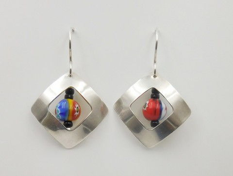Click to view detail for DKC-1016 Earrings, Silver Squares & Murano Glass