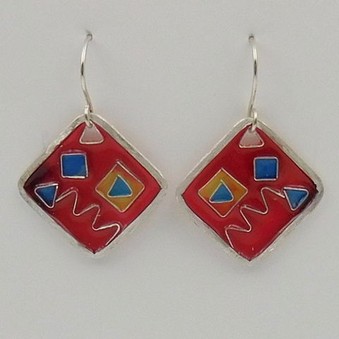Click to view detail for DKC-1021 Earrings, red squares, cloisonné  $75