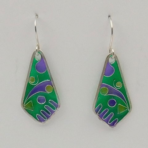Click to view detail for DKC-1022 Earrings, green/purple cloisonne