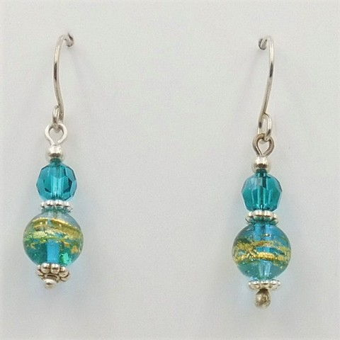 Click to view detail for DKC-1040 Earrings Murano Glass Bead & Crystal  $60