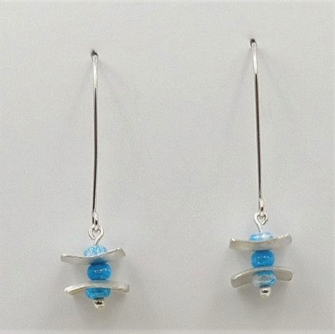Click to view detail for DKC-1043 Earrings Turquoise Czech Beads  $60