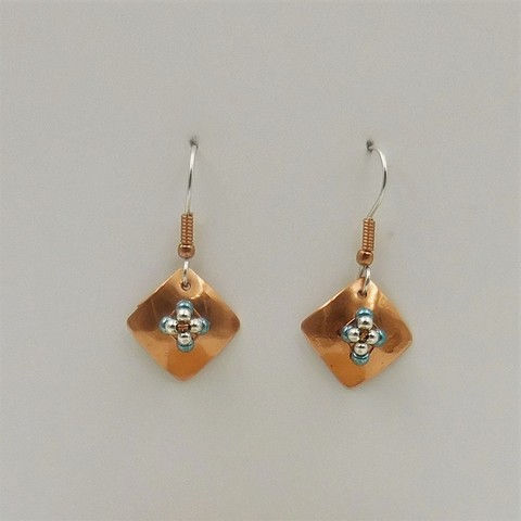 Click to view detail for DKC-1044 Earrings Copper Square Turquoise Beads