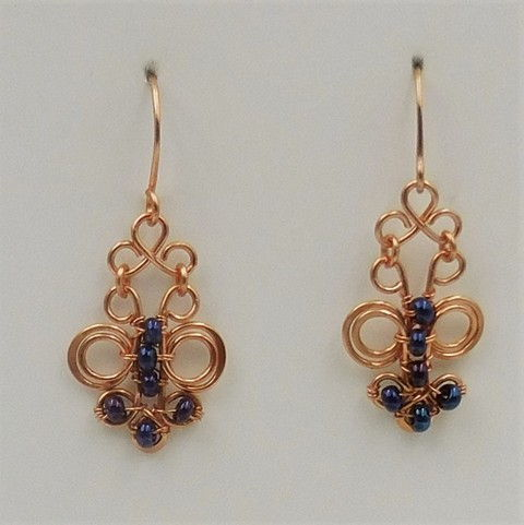 Click to view detail for DKC-1046 Earrings Copper Filigree, blue beads $66