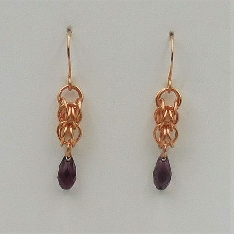 Click to view detail for DKC-1047 Earrings Copper Purple Crystals  $60